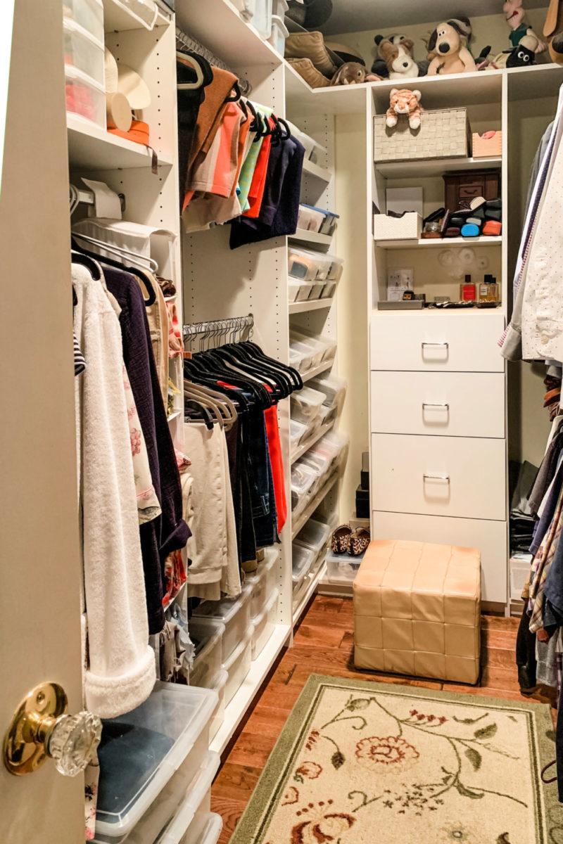 Our walk-in closet. Details at une femme d'un certain age.