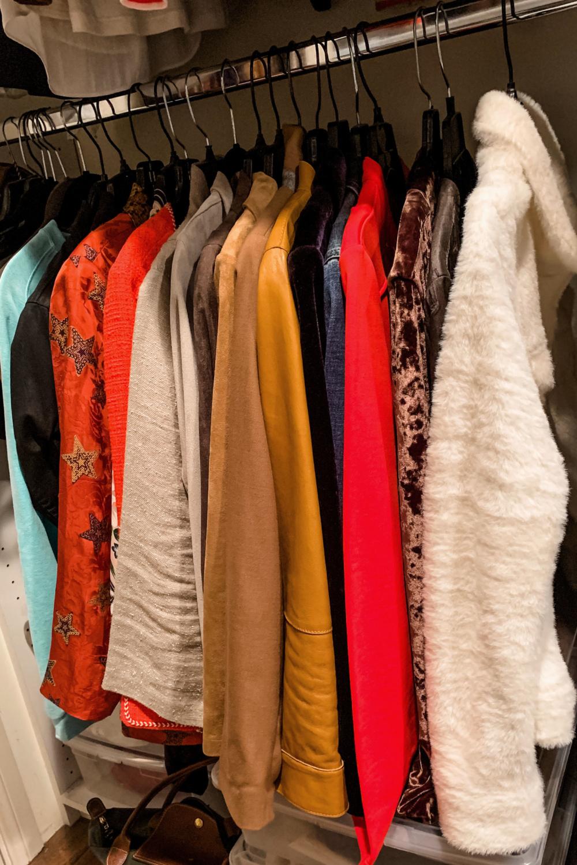 Closet organization: jackets. Details at une femme d'un certain age.