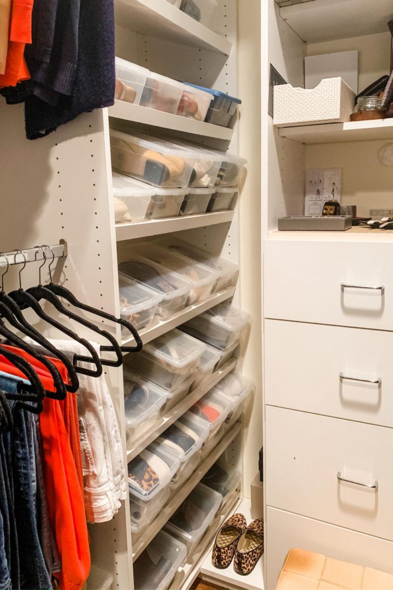 Shoe storage in clear plastic boxes. Details at une femme d'un certain age.