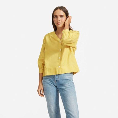 Everlane silky cotton lantern shirt. Details at une femme d'un certain age.
