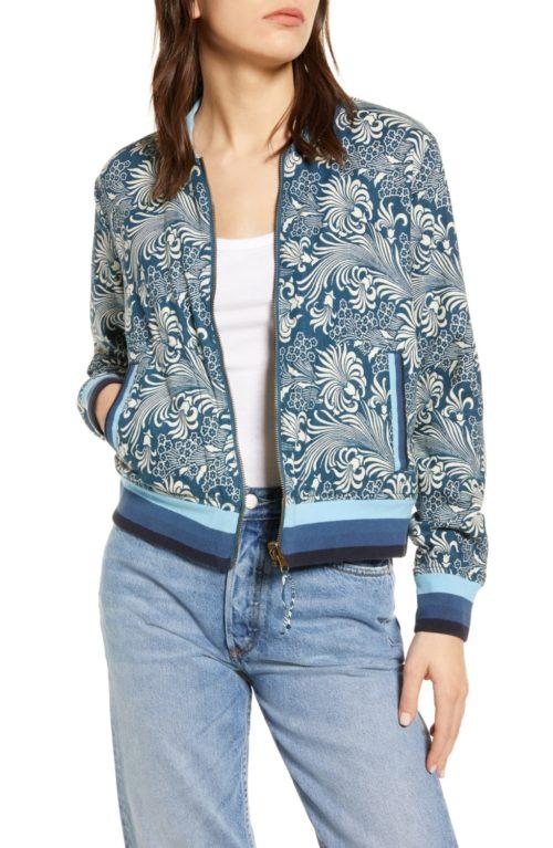 Faherty reversible bomber jacket with blue floral print. Details at une femme d'un certain age.