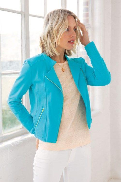 Kettlewell Colors Chloe knit moto jacket in Aqua. Details at une femme d'un certain age.