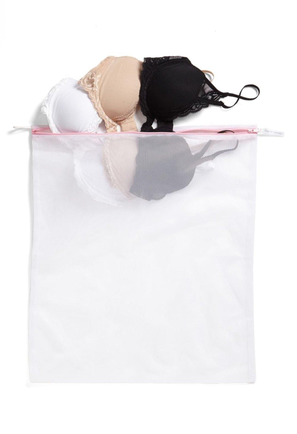 Lingerie bag for laundry. Details and more laundry tips at une femme d'un certain age.
