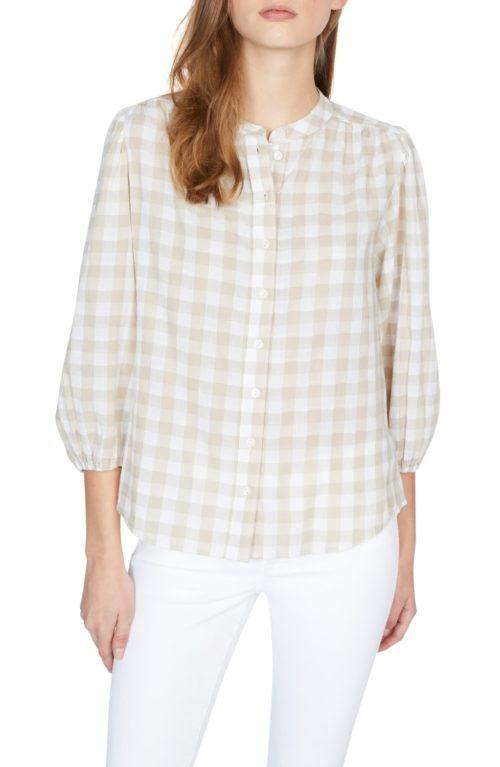 Sanctuary gingham cotton blouse. Details at une femme d'un certain age.