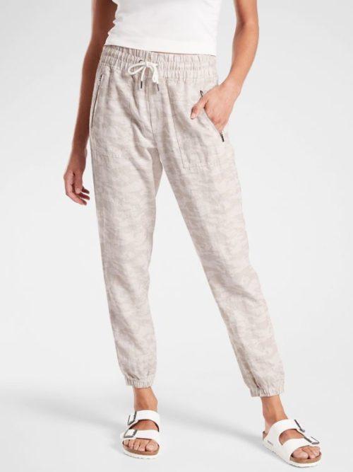 Athleta linen jogger pants in camo print. Details at une femme d'un certain age.
