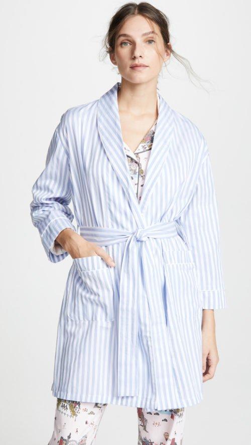 Bedhead blue striped cotton robe. Details at une femme d'un certain age.