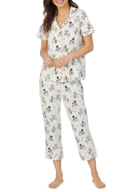 Bedhead animal print cotton crop pajamas. Details at une femme d'un certain age.