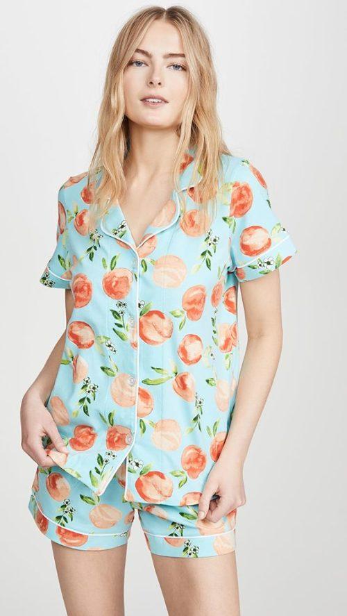 Bedhead peach print cotton pajama set. Details at une femme d'un certain age.
