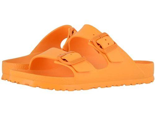 Birkenstock Arizona Essentials EVA sandals in Zinnia. Details at une femme d'un certain age.
