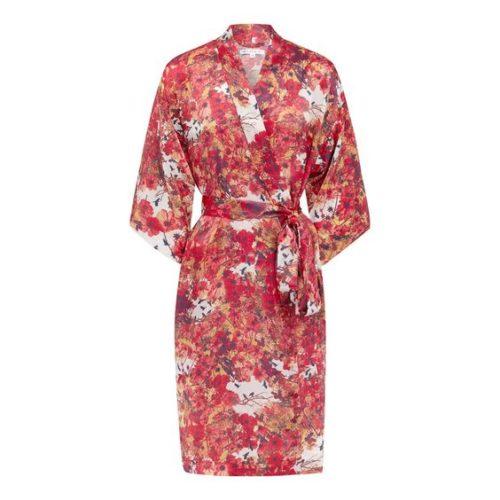 Blackbirds silk kimono robe. Details at une femme d'un certain age.