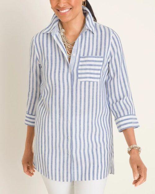 Chico's no-iron striped linen shirt. Details at une femme d'un certain age.