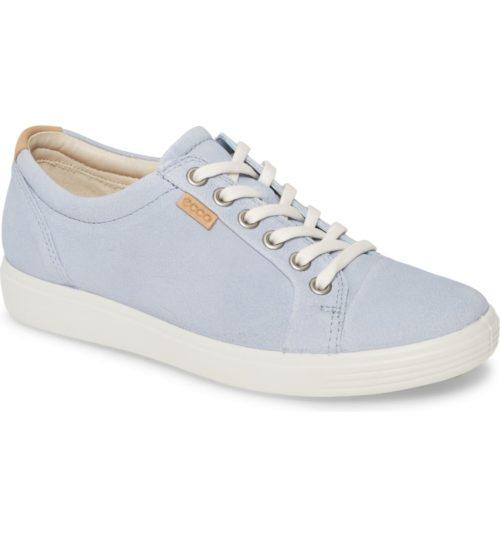 Ecco Soft 7 sneaker in Dusty Blue. Details at une femme d'un certain age.