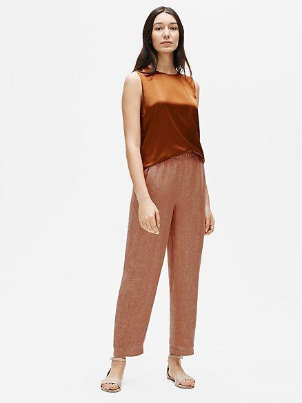 Eileen Fisher organic linen lantern pants. Details at une femme d'un certain age.