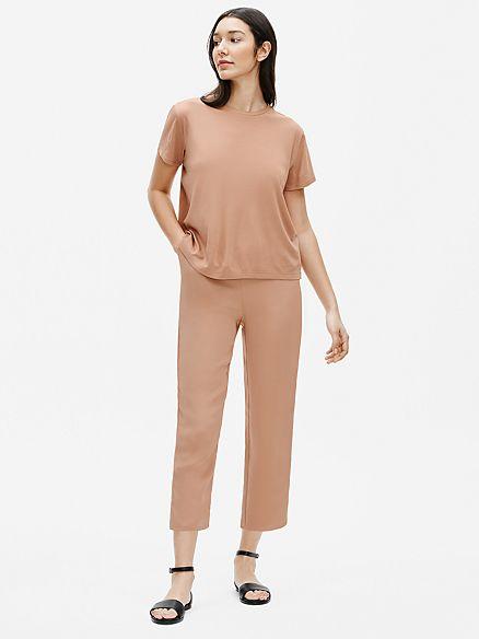 Eileen Fisher silk jersey tee. Details at une femme d'un certain age.