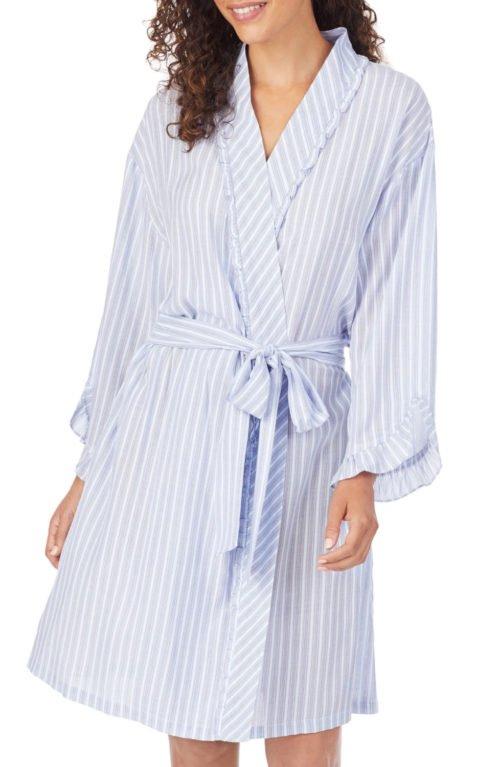 Eileen West short striped lightweight robe. Details at une femme d'un certain age.