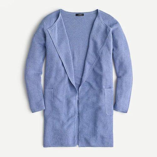 J.Crew Juliette sweater blazer in linen blend. Details at une femme d'un certain age.