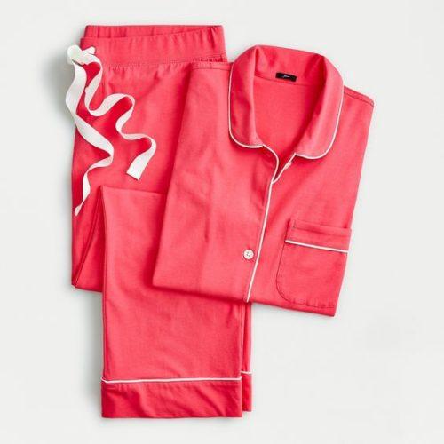 """J.Crew """"Dreamy"""" cotton pajamas in Guava. Details at une femme d'un certain age."""