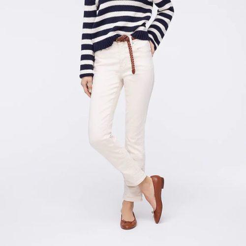 J.Crew garment dyed vintage straight leg jeans ecru (off-white). Details at une femme d'un certain age.