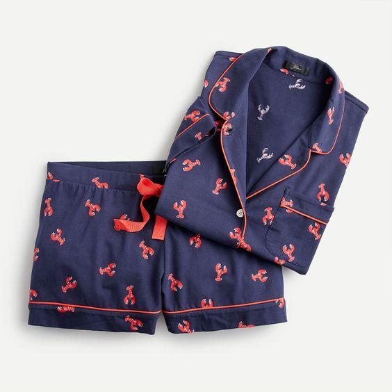 J.Crew lobster print knit cotton pajamas. Details at une femme d'un certain age.