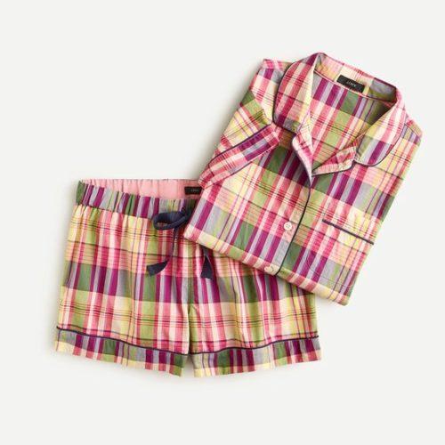 J.Crew madras print cotton pajamas. Details at une femme d'un certain age.