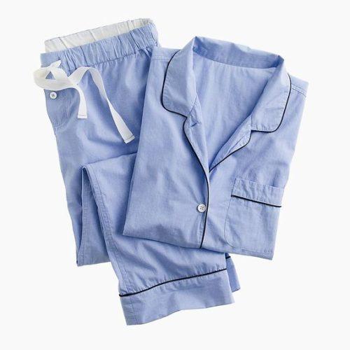J.Crew classic cotton pajamas with piping. Details at une femme d'un certain age.