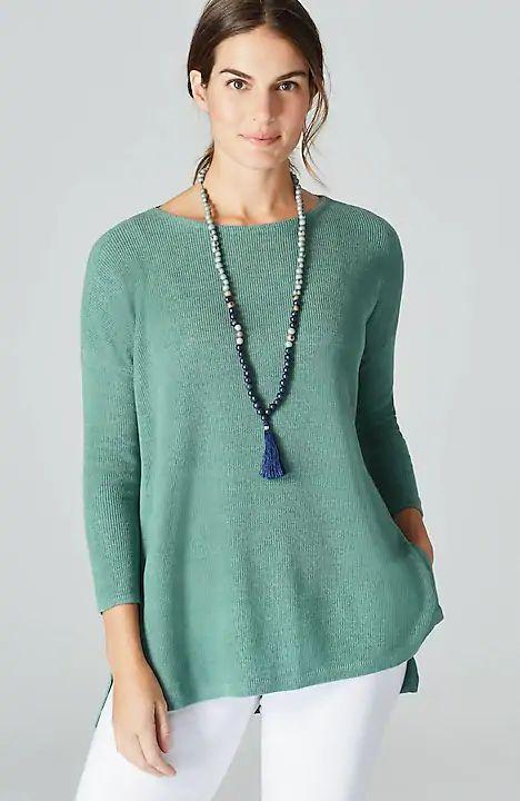 J.Jill linen blend tunic sweater in Eucalyptus. Details at une femme d'un certain age.
