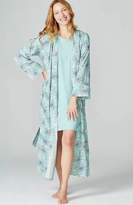 J.Jill knit cotton blend longer robe. Details at une femme d'un certain age.