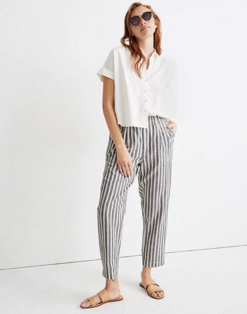 Madewell striped linen track pants. Details at une femme d'un certain age.