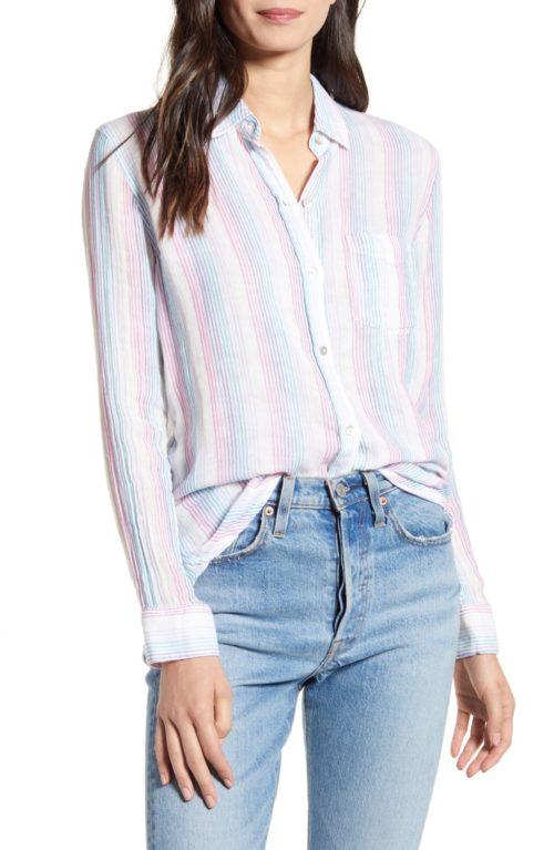 Rails Ellis cotton shirt stripes. Details at une femme d'un certain age.