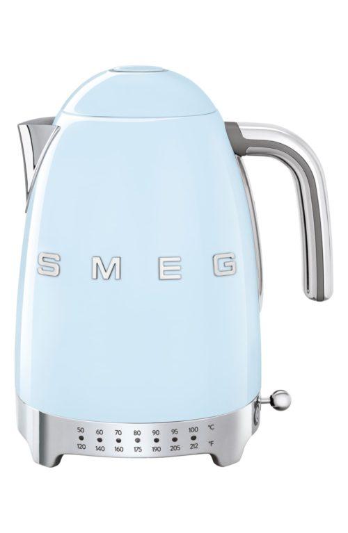 Smeg electric kettle with temperature control. Details at une femme d'un certain age.