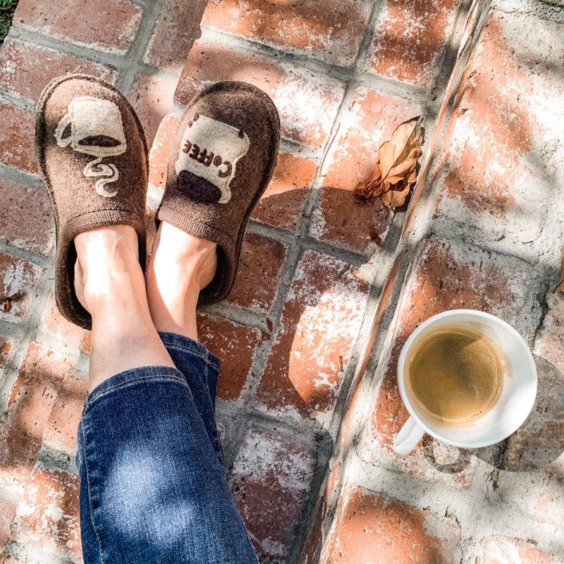 Detail: Susan B wears Haflinger coffee slippers. Info at une femme d'un certain age.