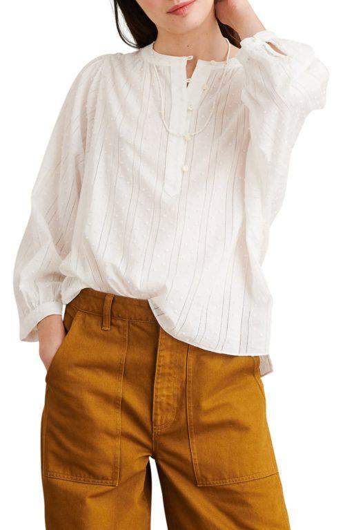 Alex Mill tonal stripe cotton popover shirt. Details at une femme d'un certain age.