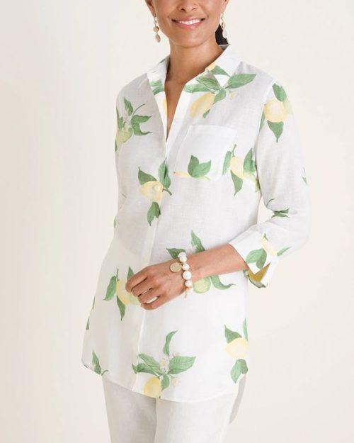 Chico's lemon print linen shirt. Details at une femme d'un certain age.
