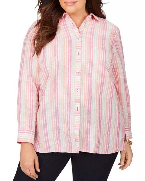 Foxcroft Plus striped linen shirt in easy care fabric. Details at une femme d'un certain age.