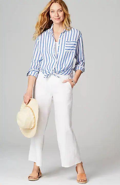 J.Jill striped linen easy shirt. Details at une femme d'un certain age.
