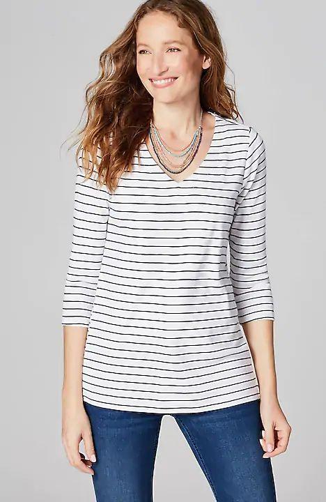 J.Jill striped v-neck cotton tee. Details at une femme d'un certain age.