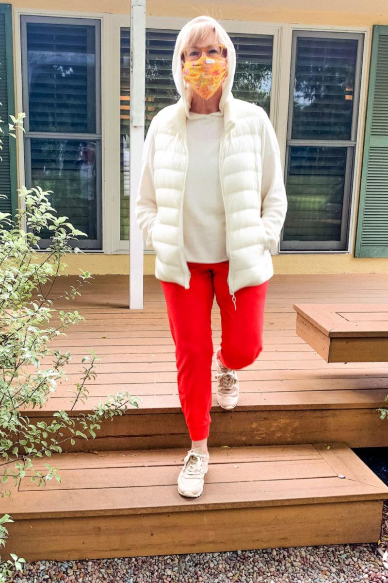 Susan B. of une femme d'un certain age wears Vuori joggers and a cashmere hoodie.