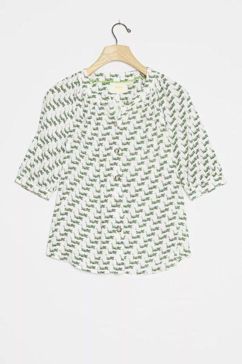 Anthropologie Rosie button front shirt in cricket print. Details at une femme d'un certain age.