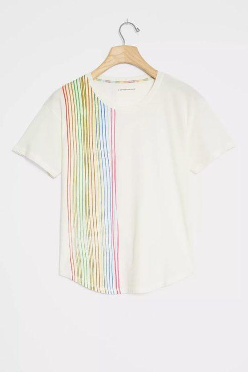 Anthropologie rainbow stripe cotton tee. Details at une femme d'un certain age