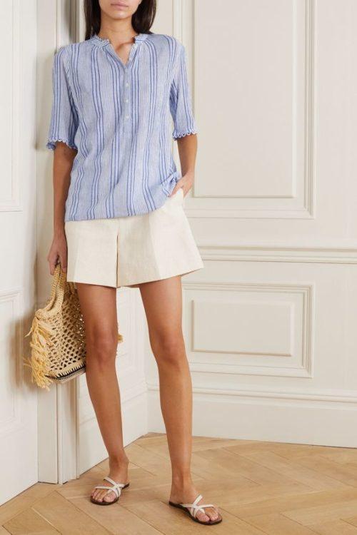 Apiece Apart blue striped crinkle cotton shirt. Details at une femme d'un certain age.