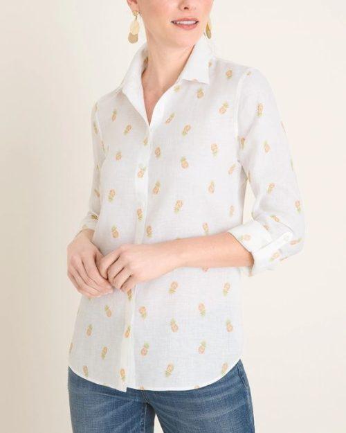 Chico's pineapple print shirt in no-iron linen. Details at une femme d'un certain age.
