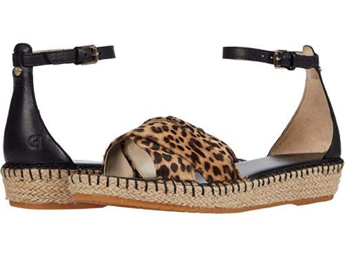 Cole Haan Cloudfeel espadrille sandals in leopard print. Details at une femme d'un certain age.