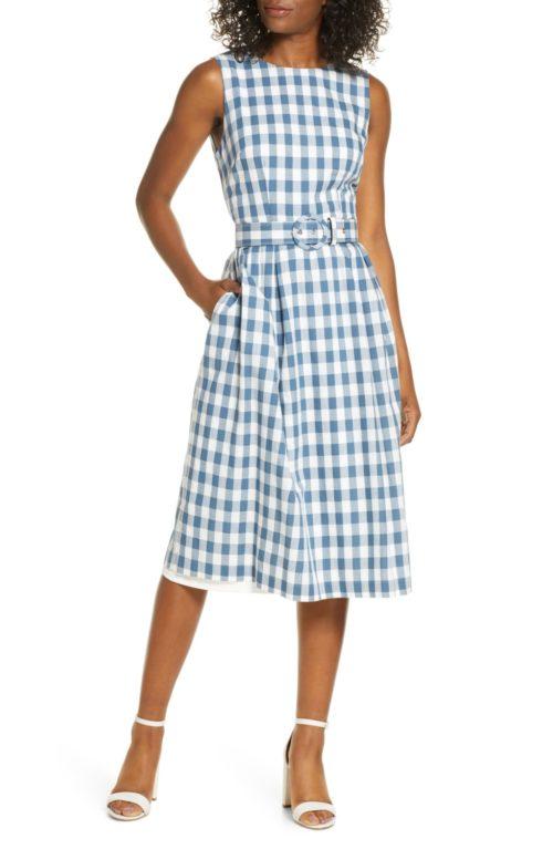 Donna Ricco sleeveless cotton gingham dress. Details at une femme d'un certain age.