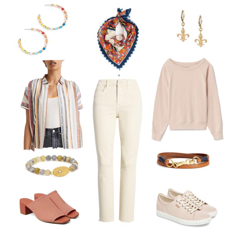 A casual wardrobe ensemble with off-white jeans. Details at une femme d'un certain age.