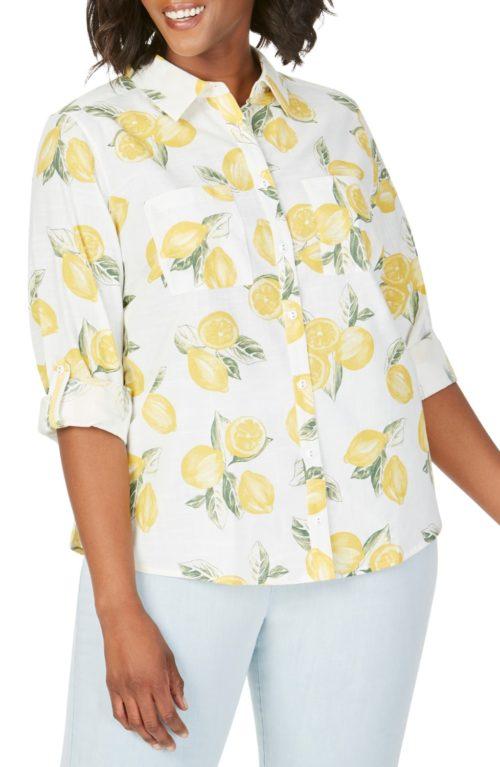 Foxcroft Zoey lemon print cotton shirt in Plus. Details and more summer print tops at une femme d'un certain age.