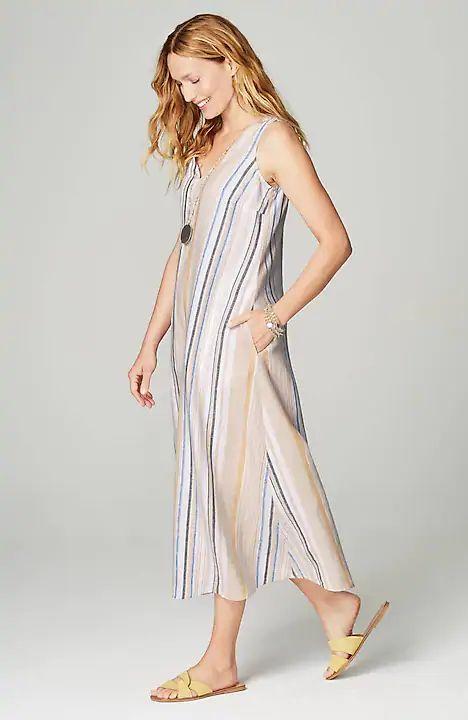 J.Jill striped linen midi dress. Details at une femme d'un certain age.