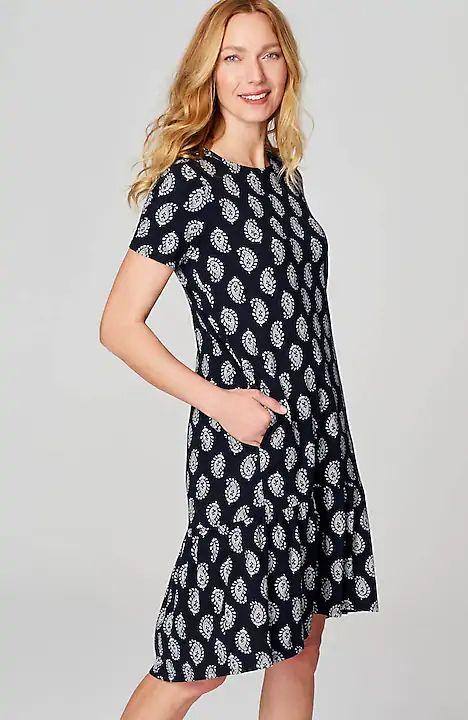 J.Jill paisley print knit dress with flounce hem. Details at une femme d'un certain age.