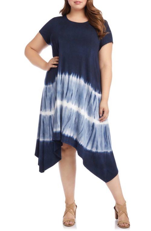 Karen Kane tie-dyed handkerchief hem knit dress. Details at une femme d'un certain age.