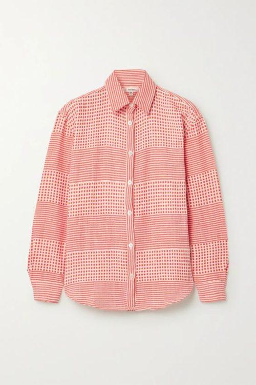 Lemlem cotton gauze shirt in coral dot and stripe print. Details at une femme d'un certain age.