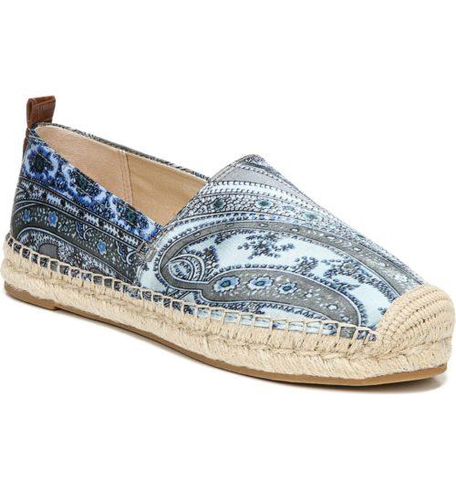 Sam Edelman blue paisley espadrille slip-on. Details and more espadrilles on sale at une femme d'un certain age.